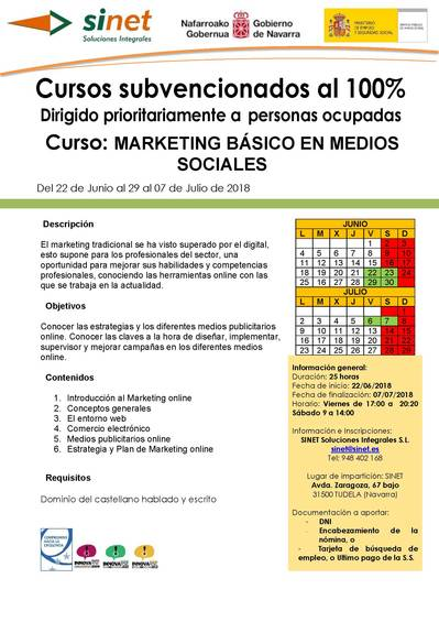Curso: MARKETING BÁSICO EN MEDIOS SOCIALES