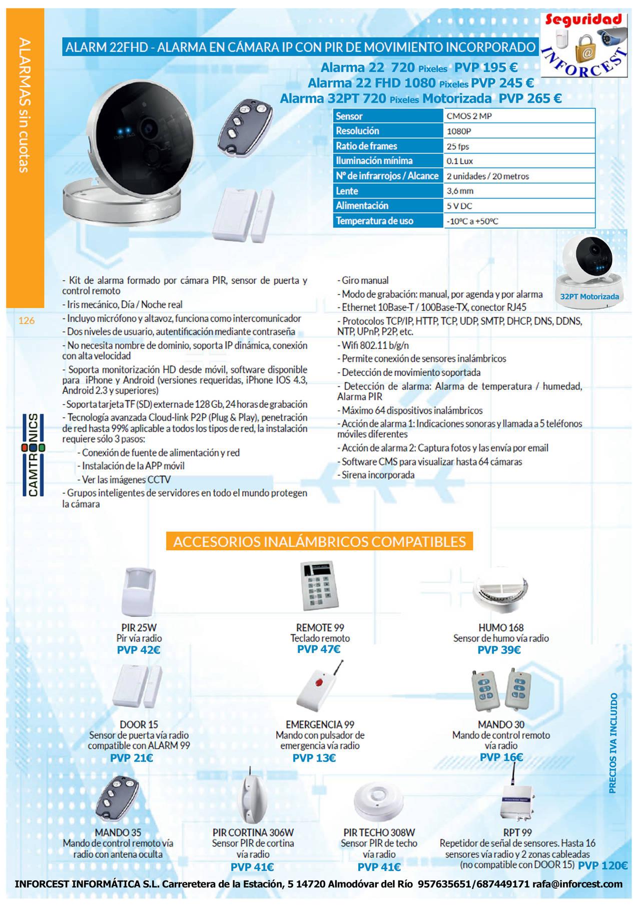 ALARM22FHD - Alarma en cámara IP con PIR de movimiento incorporado