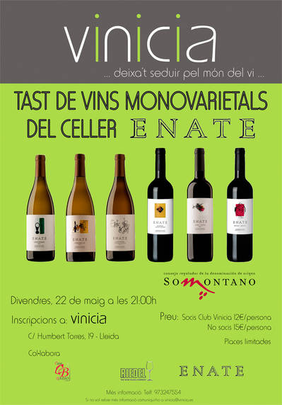 Tast de vins monovarietals del Celler Enate, D.O. Somontano