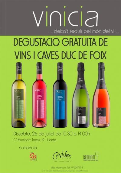 Degustació gratuïta de vins i caves Duc de Foix