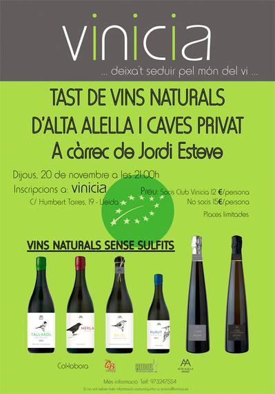 Tast de vins naturals d'Alta Alella i caves Privat