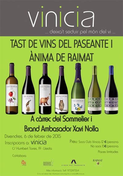 Tast de vins Vinos del Paseante i Ànima de Raimat