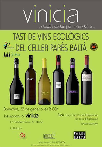 Tast de vins ecològics del Celler Parés Baltà