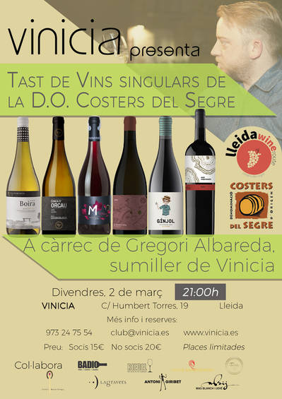 Tast de vins singulars de la D.O. Costers del Segre