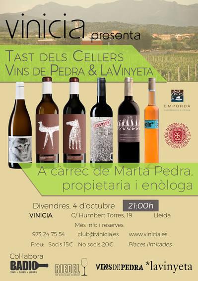 Tast dels cellers La Vinyeta (D.O. Empordà) i Vins de Pedra (D.O. Conca de Barberà)