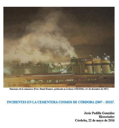INCIDENTES EN LA CEMENTERA COSMOS DE CÓRDOBA (2007 – 2015)1