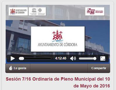 VIDEO: Pleno Ordinario Ayuntamiento de Córdoba. Mayo 2016.