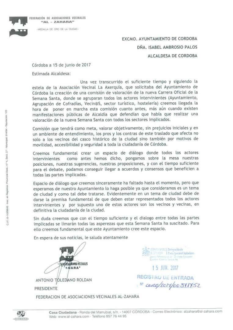 La comisión de la carrera oficial: una exigencia de la Federación de Vecinos