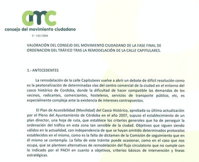 VALORACIÓN DEL CONSEJO DE MOVIMIENTO CIUDADANO EN SU REUNIÓN DEL 14/03/2017