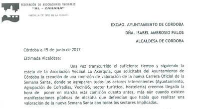 SOLICITUD COMISIÓN VALORACIÓN DE LA NUEVA CARRERA OFICIAL DE SEMANA SANTA