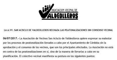 San Acisclo critica el proceso para peatonalizar tres calles en Norte-Sierra