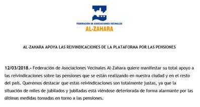 Al-Zahara apoya las reivindicaciones de la plataforma por las pensiones