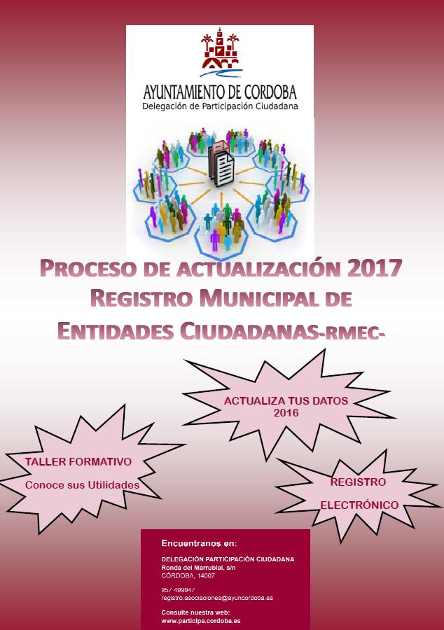 PROCESO DE ACTUALIZACIÓN 2017 REGISTRO MUNICIPAL DE ENTIDADES CIUDADANAS - RMEC -