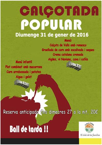CALÇOTADA POPULAR, DOMINGO 31 DE ENERO