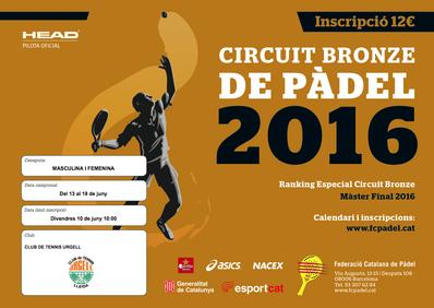 El Circuito Bronce de Pádel 2016 alcanza el CT Urgell del 13 al 19 de junio