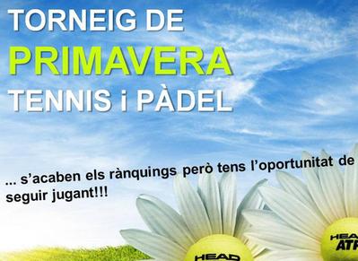 ÚLTIMOS DÍAS DE INSCRIPCIÓN AL TORNEO PRIMAVERA DE TENIS Y PADEL