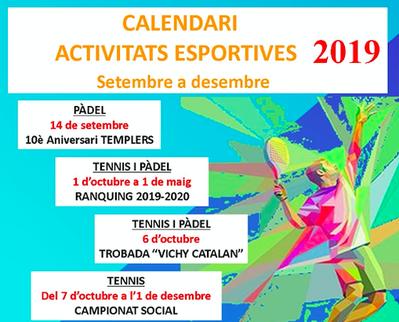 A punto el calendario de actividades de tenis y pádel para la nueva temporada