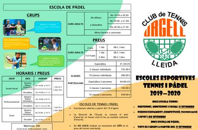 En marcha las escuelas deportivas de tenis y pádel del Club Tenis Urgell