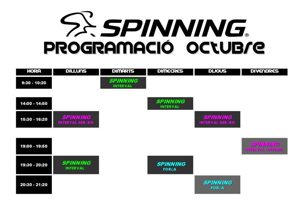 Programació d'spinning - OCTUBRE