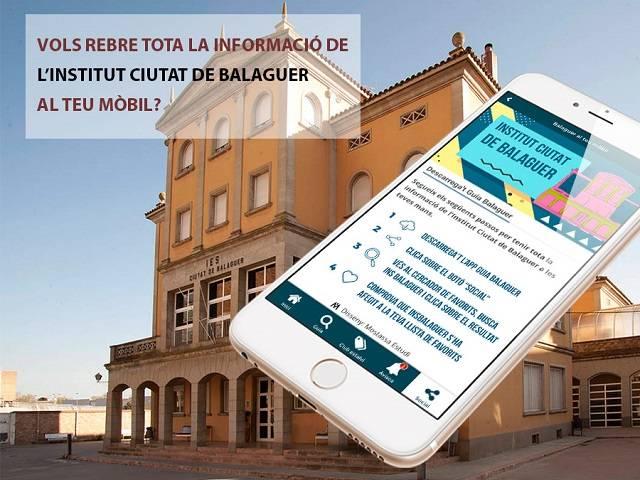 Ara mitjançant l'App Guia Balaguer pots rebre les notificacions de l'Institut Ciutat de Balaguer