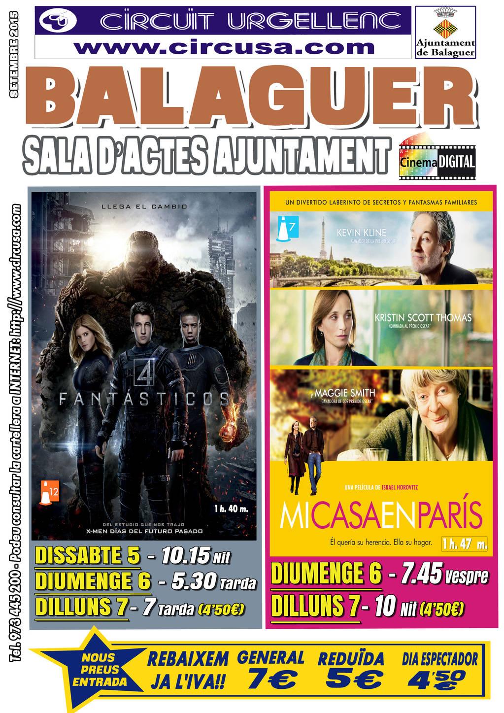 CINEMA SETEMBRE 5, 6, 7 - MI CASA EN PARÍS - LOS CUATRO FANTÁSTICOS