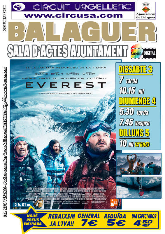 CINEMA OCTUBRE 3, 4 i 5 - EVEREST