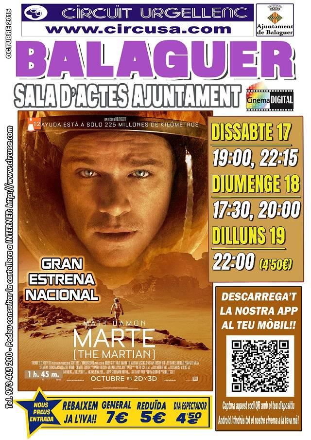 CINEMA OCTUBRE 17, 28 i 19 - MARTE
