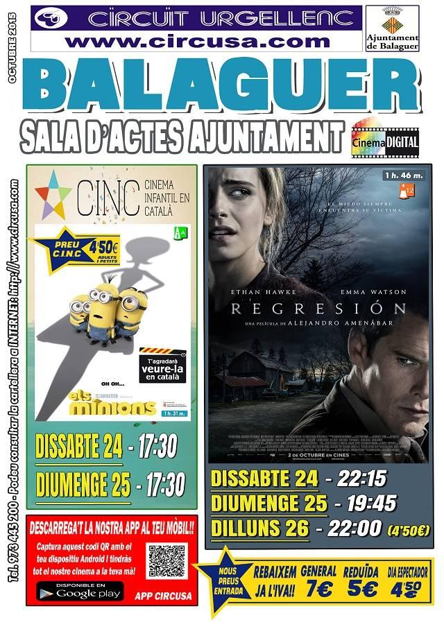 CINEMA OCTUBRE 24, 25 i 26 - REGRESIÓN - ELS MINIONS (en Català)