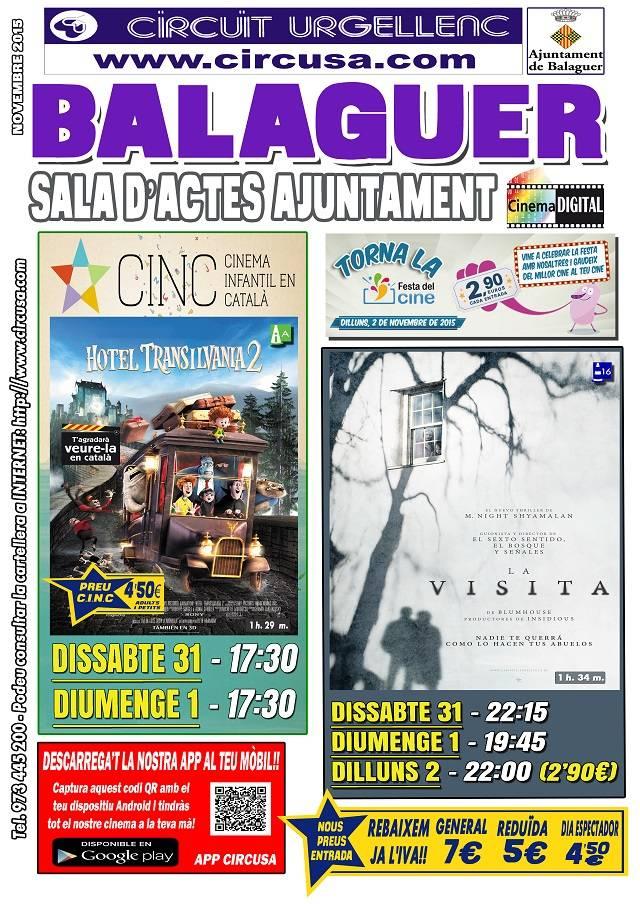 CINEMA OCTUBRE  31, NOVEMBRE 1 i 2 - LA VISITA - HOTEL TRANSYLVANIA 2