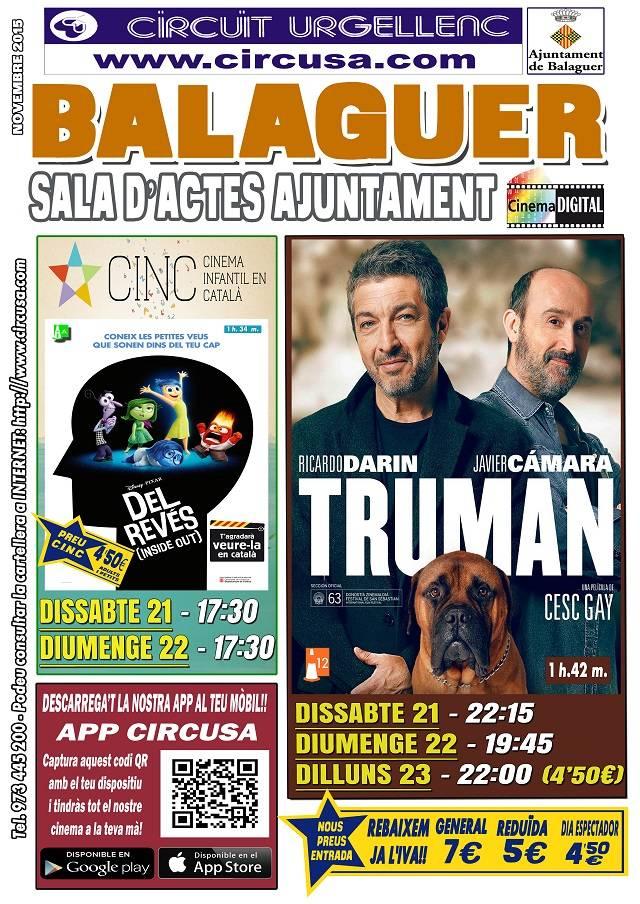 CINE NOVIEMBRE 21, 22 y 23 - TRUMAN - DEL REVÉS (Inside Out).