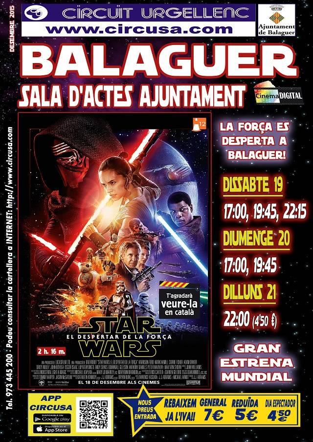CINEMA DESEMBRE 19, 20 i 21 - STAR WARS:EL DESPERTAR DE LA FORÇA