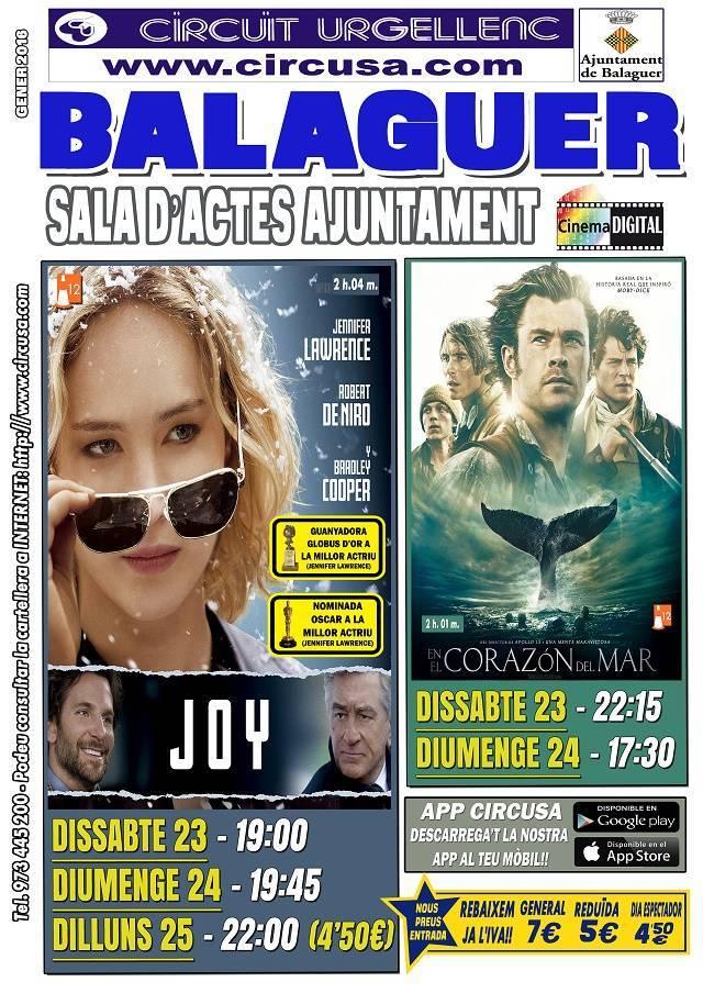 CINEMA GENER 23, 24 i 25 - JOY: el nombre del éxito - EN EL CORAZÓN DEL MAR