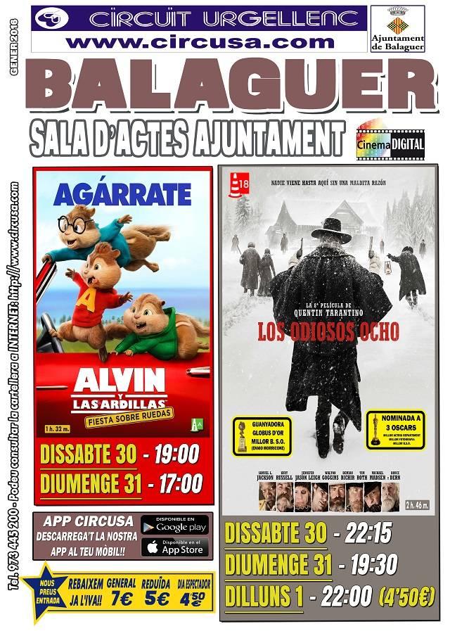 CINE ENERO 30, 31 y FEBRERO 1 - LOS odiosos 8 - Alvin y las ardillas: fiesta sobre ruedas
