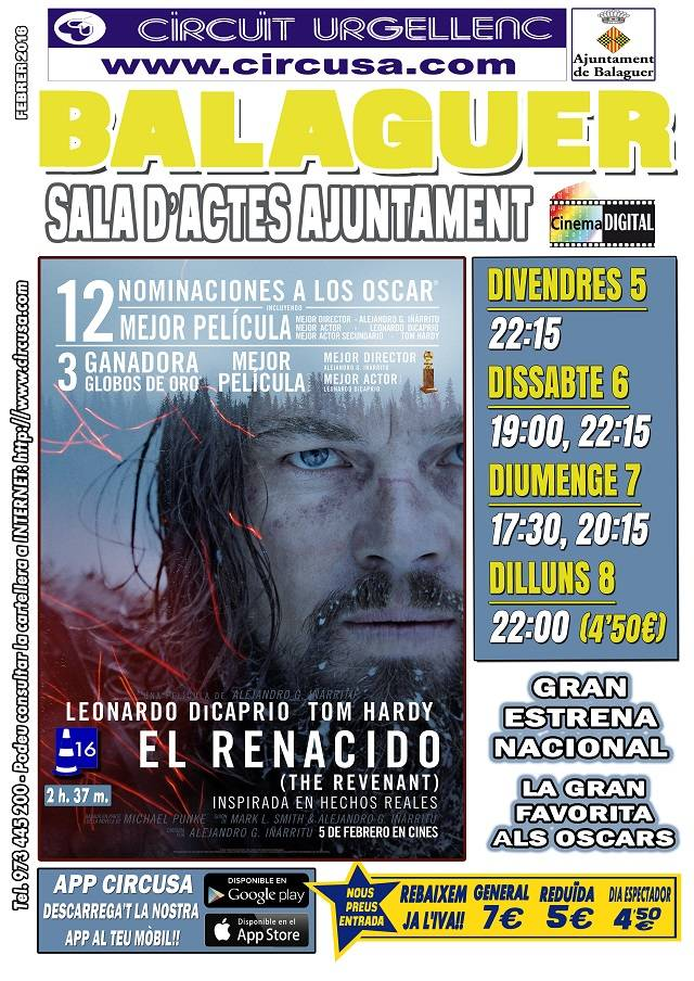 CINE FEBRERO 5, 6, 7 y 8 - EL RENACIDO (the revenant)
