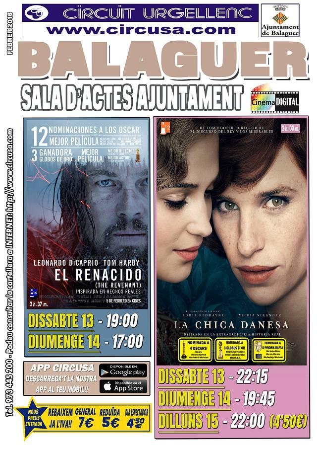 CINEMA FEBRER 13, 14 i 15 - LA CHICA DANESA - EL RENACIDO