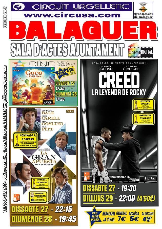 CINEMA FEBRER 27, 28 i 29 - CREED: La leyenda de Rocky - LA GRAN APUESTA - COCO, EL PETIT DRAC