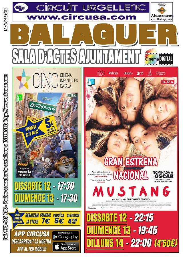 CINEMA MARÇ 12, 13 i 14 - MUSTANG - ZOOTRÒPOLIS