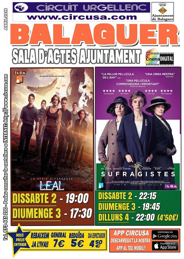 CINEMA ABRIL 2, 3 i 4 - SUFRAGISTAS - DIVERGENTE: LEAL