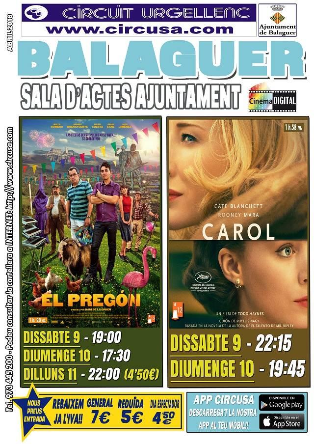 CINE ABRIL 9, 10 y 11 - EL PREGÓN - CAROL