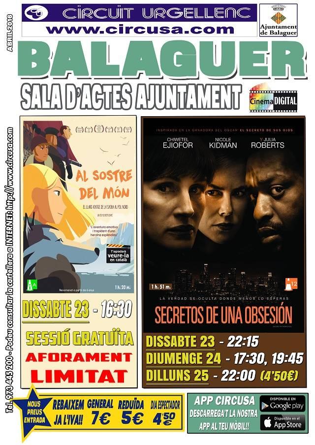 CINEMA ABRIL 23, 24 i 25 - SECRETOS DE UNA OBSESIÓN - AL SOSTRE DEL MÓN