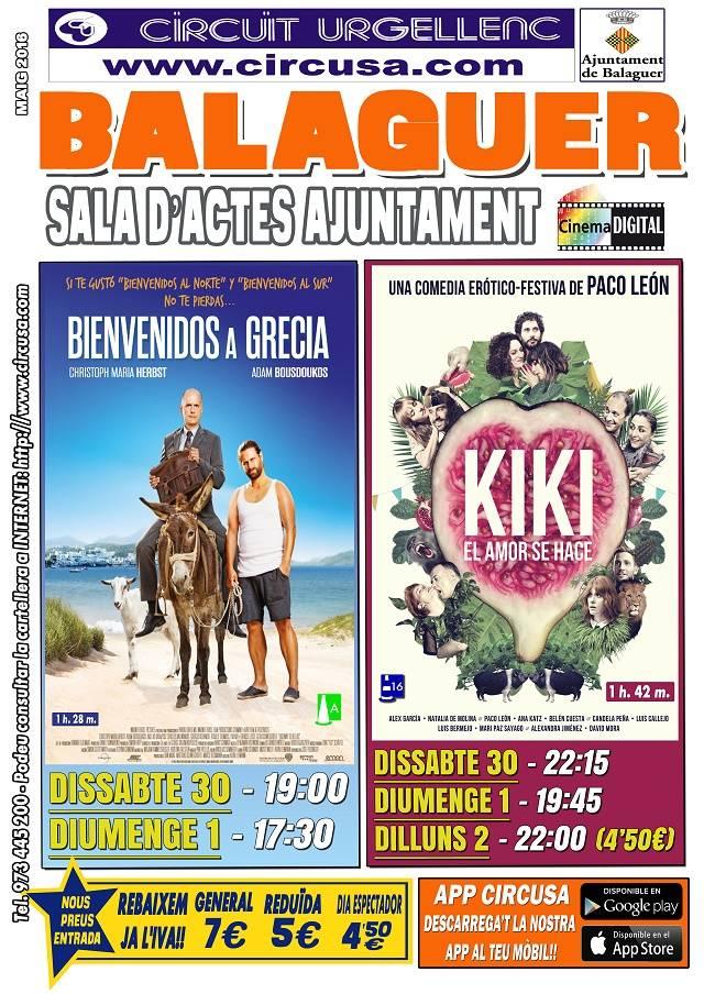 CINEMA ABRIL 30, MAIG 1 i 2 - KIKI, el amor se hace - BIENVENIDOS A GRECIA