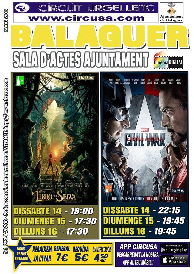 CINEMA MAIG 14, 15 i 16 - CAPITÁN AMÉRICA:CIVIL WAR - EL LIBRO DE LA SELVA