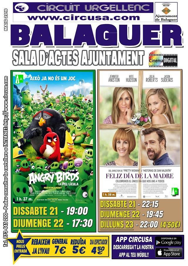 CINEMA MAIG 21, 22 i 23 - FELIZ DIA DE LA MADRE - ANGRY BIRDS