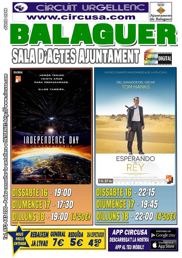 CINE JULIO 16, 17 y 18 - INDEPENDENCE DAY: CONTRAATAQUE - ESPERANDO AL REY