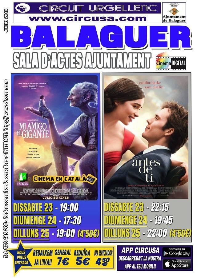 CINEMA JULIOL 23, 24 i 25 - EL MEU AMIC EL GEGANT - ANTES DE TI