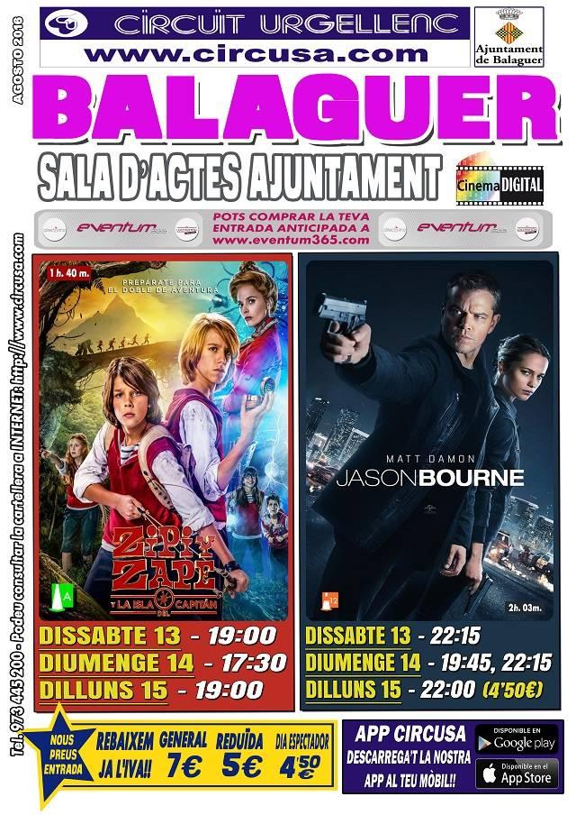 CINEMA AGOST 13, 14 i 15 - JASON BOURNE - ZIPI Y ZAPE Y LA ISLA DEL CAPITÁN
