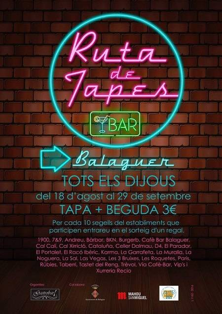 El millor pla per avui dijous a Balaguer la RUTA DE TAPES