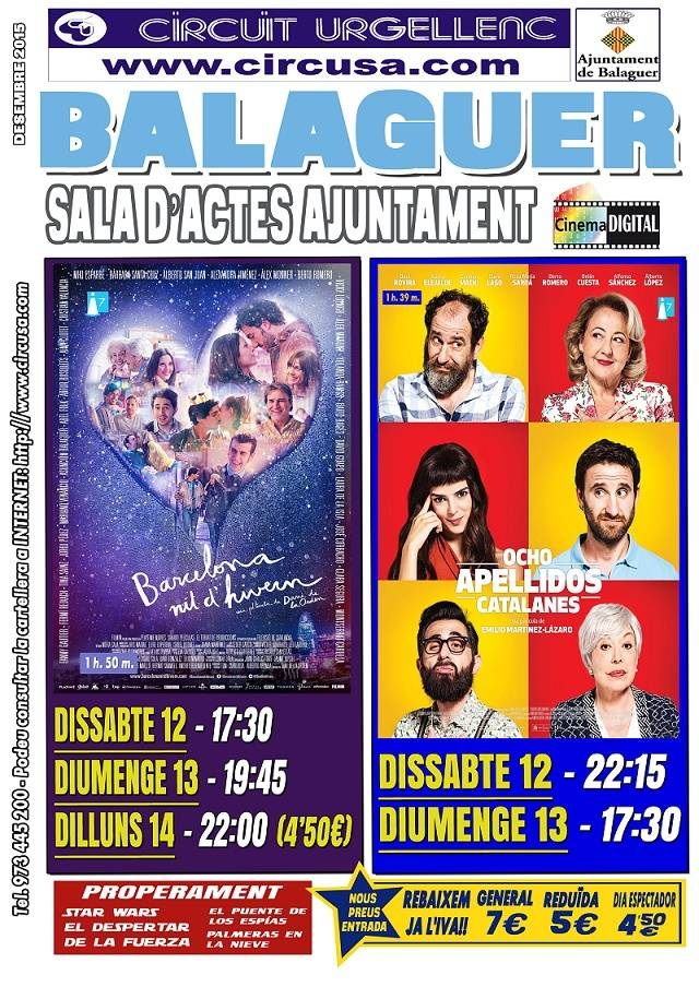 CINEMA DESEMBRE 12, 13 i 14 - BARCELONA, NIT D'HIVERN - 8 APELLIDOS CATALANES