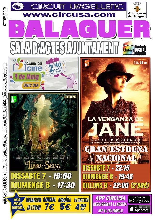 CINE MAYO 7, 8 y 9 - LA VENGANZA DE JANE - EL LIBRO DE LA SELVA