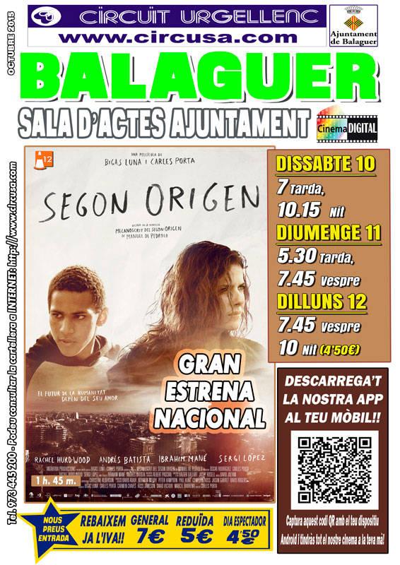 CINEMA OCTUBRE 10, 11 i 12 - SEGON ORÍGEN